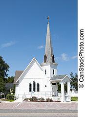 keresztény, nagyon, templomtorony, templom, kicsi, vidéki
