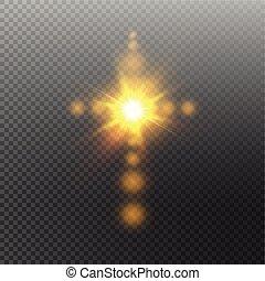 keresztény, nap, jelkép, flare., kereszt, ábra, elszigetelt, háttér., izzó, vektor, feltámadás, fehér, csillogó, húsvét, áttetsző, ég
