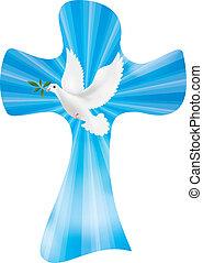 keresztény, zöld, béke, ég, kereszt, vektor, háttér, olajbogyó, fénylő, galamb, jelkép, rays.