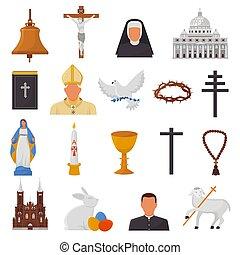 kereszténység, biblia, keresztény, krisztus, bibliai, ikonok, isten, kézbesít, cégtábla, elszigetelt, ábra, kereszt, jelkép, vallás, vektor, bizalom, háttér, templom, fehér, imádkozás, vallásos