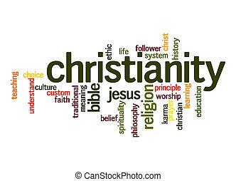 kereszténység, szó, felhő