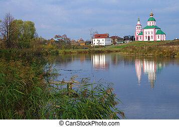 kereszténység, templom, közül, szt., elias, alatt, oroszország, suzdal