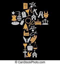 kereszténység, vallás, jelkép, alatt, nagy, kereszt, eps10