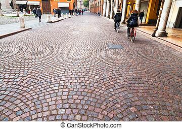 keresztül, emilia, -, ősi, utca, alatt, modena, olaszország
