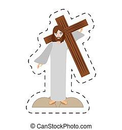 keresztül, krisztus, kereszt, jézus, szállít, crucis, karikatúra