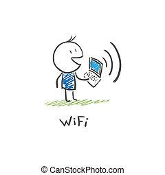 keresztül, laptop, wi, összekapcsol, internet, fi, ember
