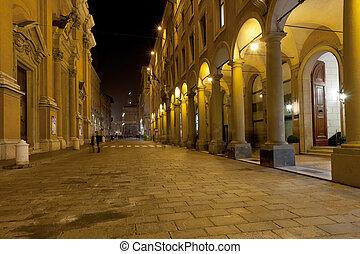 keresztül, olaszország, altabella, bologna, éjszaka
