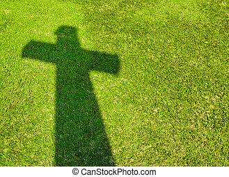 kereszt, árnyék, fű, zöld