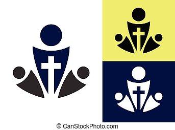 kereszt, symbols., templom, aláír, logo., keresztény, jézus