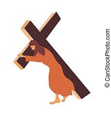 kereszt, szállít, jézus, keresztre feszítés