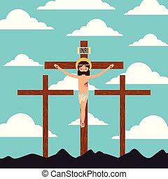 keresztbe tesz, krisztus, három, jézus, landscpae, keresztre feszítés