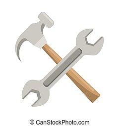 keresztbe tett, ficam, kulcs, kalapács, eszközök