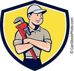 keresztbe tett, vízvezeték szerelő, címer, fegyver, karikatúra