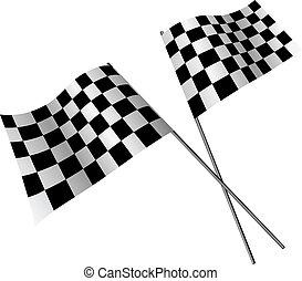 keresztbe tett, versenyzés, zászlók