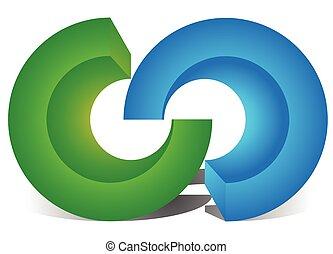 kereszteződő, elvont, gyűrű, integráció, összeköttetés, ...