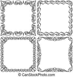 keret, állhatatos, calligraphic