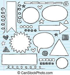 keret, és, határok, sketchy, doodles