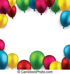 keret, balloons., ünnepel, háttér