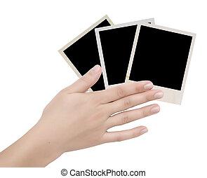 keret, fénykép, három, kéz