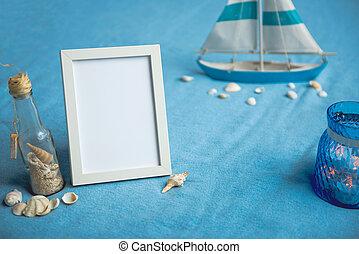 keret, helymegállapítás, fehér, hajó, szőnyeg