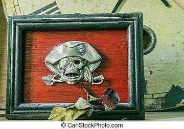 keret, koponya, képben látható, egy, háttér.