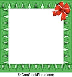 keret, noha, christmas fa, motívum, képben látható, zöld háttér, és, ünnepies, piros vonó