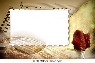 keret, romantikus, háttér, zenés