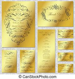 keret, vektor, állhatatos, arany, esküvő