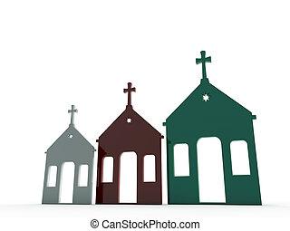 kerk, in, gevarieerd, kleur