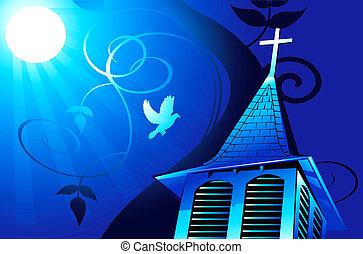 kerk, in, maanlicht