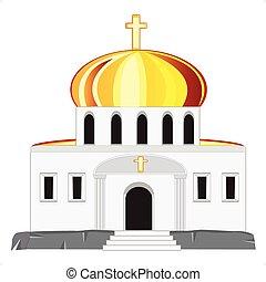 kerk, met, koepel