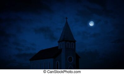 kerk, op de avond, met, volle maan