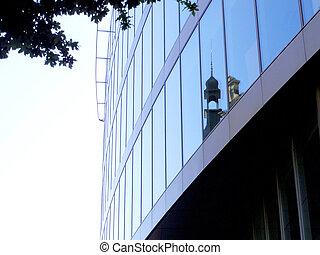 kerk, reflectie, op, spiegel, reflecterend, buitenkant, van,...
