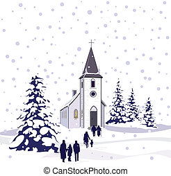 kerk, scène, winter