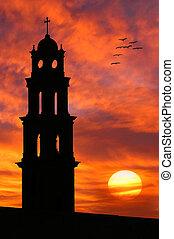 kerk, silhouette, tegen, mooi, sky.