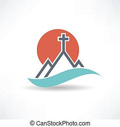 kerk, zon, abstract, pictogram