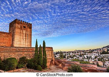 kerken, andalusia, hemel, granada, spanje, cityscape, morgen...