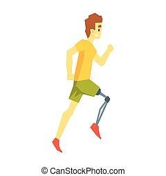 kerl, rennender , mit, beinprothese, junge person, mit, unfähigkeit, überwindung, der, verletzung, lebensunterhalt, voll, leben, vektor, abbildung