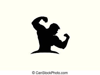 kerl, silhouette, fitness