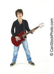 kerl, spielende gitarre, weiß, hintergrund