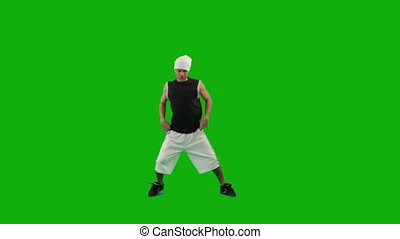 kerl, tanzen, hüfte-hopfen, grün, schirm