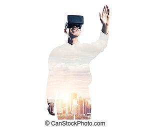 kerl, tragen, geprüften hemd, und, virtuell, maske, dehnen, hand