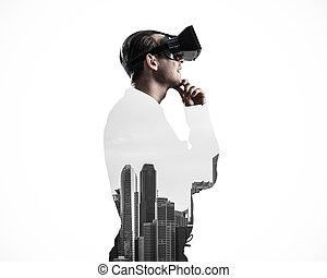kerl, tragen, geprüften hemd, und, virtuell, maske, mit, hand kinn