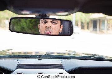 kerl, zunge heraus haften, in, innenspiegel