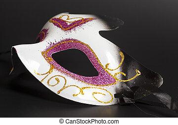 kermis masker, op, een, zwarte achtergrond