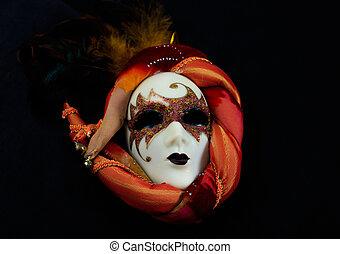 kermis masker, op, zwarte achtergrond