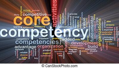 kern, competency, woord, wolk, gloeiend
