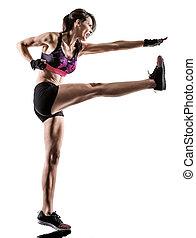 kern, frau, workout, boxen, freigestellt, kreuz, aerobik, fitness, cardio, übung
