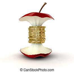kern, geldmünzen, werte, gold