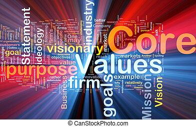 kern, gloeiend, concept, waarden, achtergrond